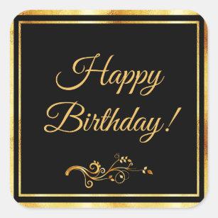 Image of: Birthday Card Happy Birthday With Elegant Black And Gold Square Sticker Zazzle Happy Birthday Male Stickers Zazzle