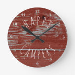 Happy Campers Red Barn Wood   Rustic Camping Round Clock