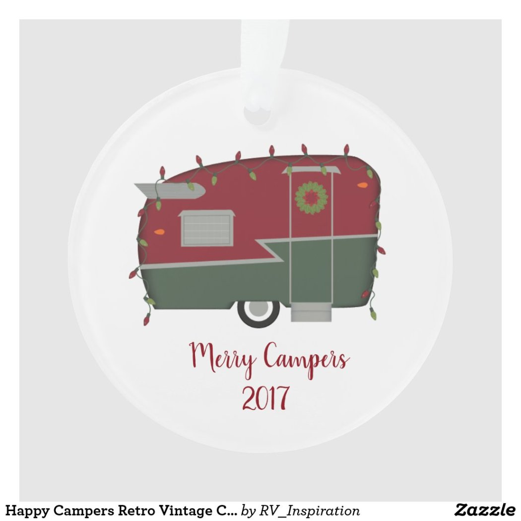Happy Campers Retro Vintage Christmas Ornament