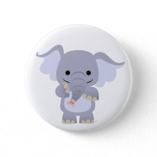 Happy Cartoon Elephant button badge button