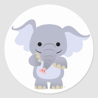 Happy Cartoon Elephant Sticker sticker
