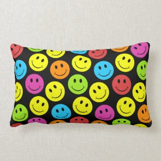 Happy Colorful Smiley Faces Pattern Pillows