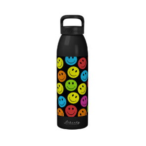 Happy Colorful Smiley Faces Pattern Water Bottles