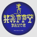 Happy Dance (2c) - Fade to Black Round Stickers zazzle_sticker