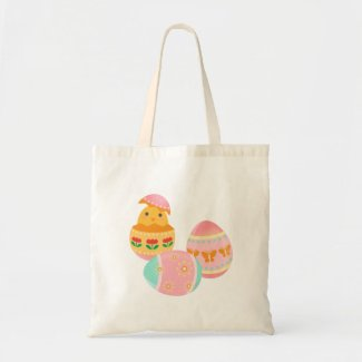 Happy Easter Chick Easter Egg Tote Bags