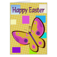 Happy Easter Colorful Butterfly Card