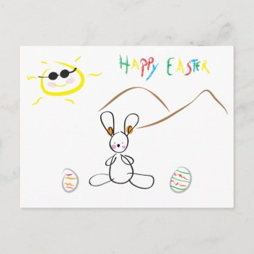 Happy Easter - Cute Kids Drawing Holiday Postcard