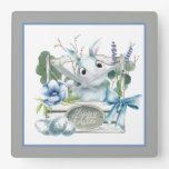 Happy Easter Flower Box Blue Bunny Rabbit Square Wall Clock