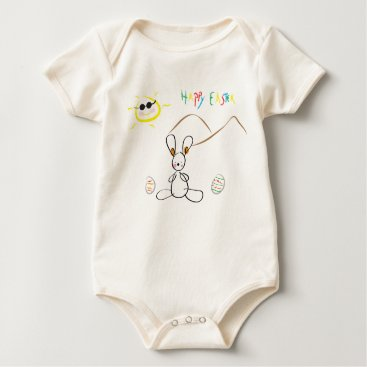 Happy Easter Kids Drawing Baby Bodysuit