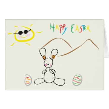 Happy Easter - Kids Drawing Card