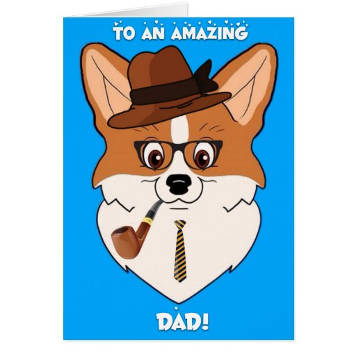 Happy Father's Day Corgi Cartoon Card | Zazzle