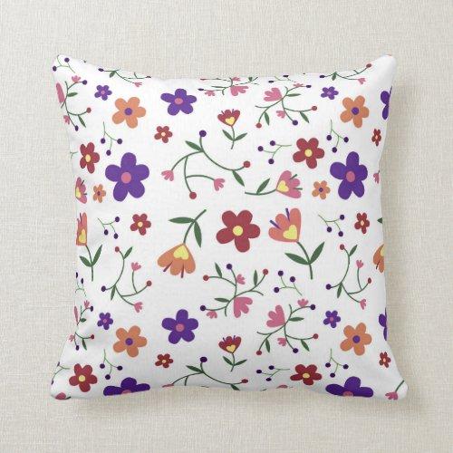 Happy Flowers Throw Pillow