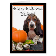 Happy Halloween Birthday Basset Hound card