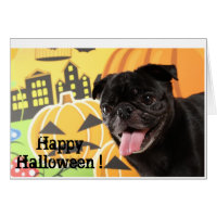 Happy Halloween Card Black Pug
