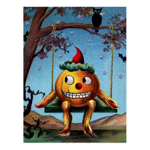 Happy Halloween from Pumpkin on a Swing Postcard