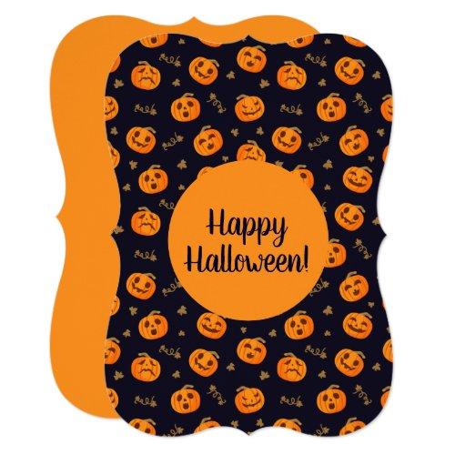 Happy Halloween Funny Scary Orange Pumpkin Pattern Invitation
