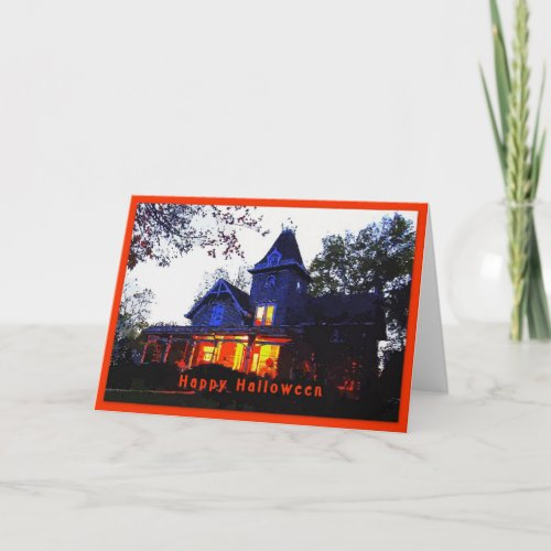 Happy Halloween Haunted House Greeting Card card