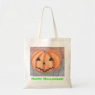 Happy Halloween Jack o Lantern Bag by Julia Hanna