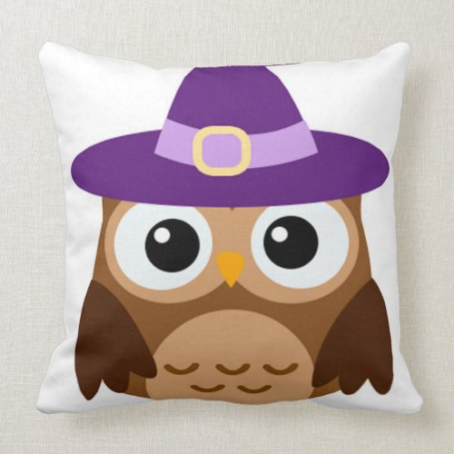 happy Halloween owl with purple hat Throw Pillow