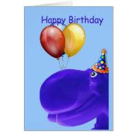 Happy Hippo Blue Birthday Card