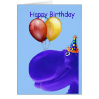 Happy Hippo Blue Birthday Card