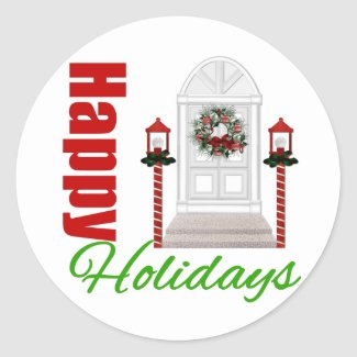 Happy Holidays Decorated Door v3 sticker