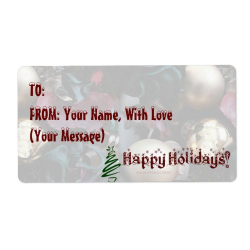 Happy Holidays Gift Tag/Avery Label - Customize label