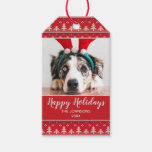 Happy Holidays Nordic Pattern Photo Gift Tags
