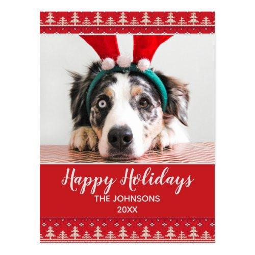 Happy Holidays Nordic Pattern Photo Postcard