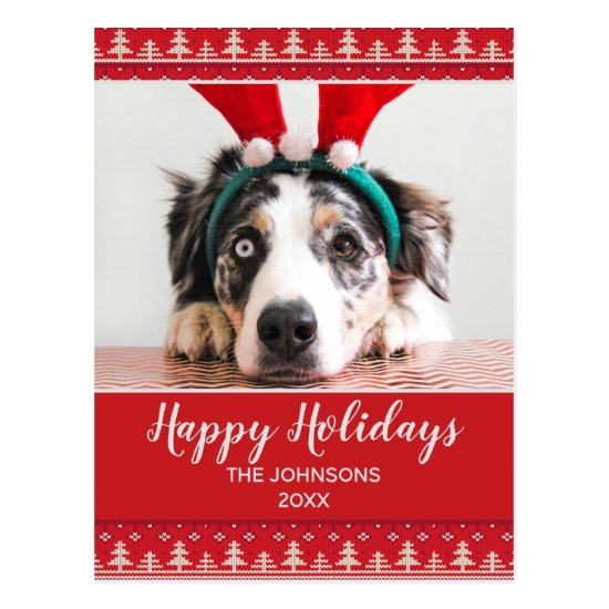 Happy Holidays Nordic Pattern Photo Postcard