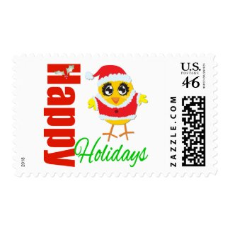 Happy Holidays Santa Chick stamp