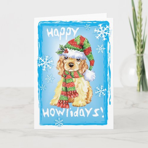 Happy Howliday Cocker Spaniel Holiday Card