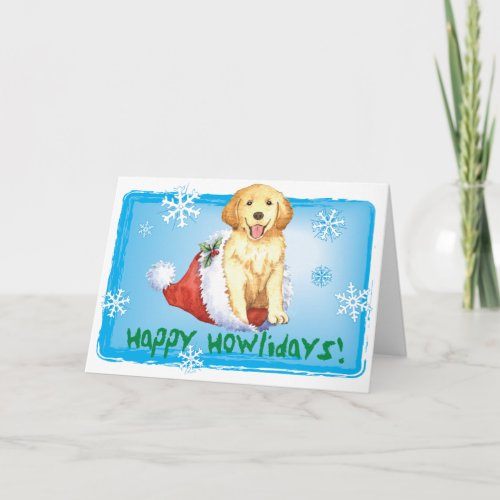 Happy Howliday Golden Retriever Holiday Card