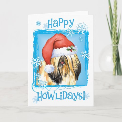 Happy Howlidays Lhasa Apso Holiday Card