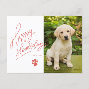 Happy Howlidays Pet Themed Red Paw Holiday Photo