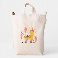 Happy llama with cactus duck bag