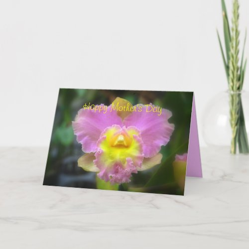 Happy Mother's Day Pink Cattleya Orchid card