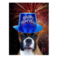 Happy New Year Boxer dog postcard