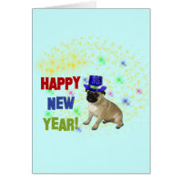 Happy New Year Pug Greeting Card