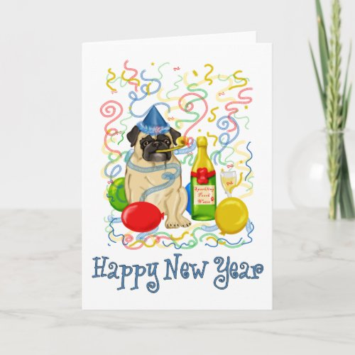 Happy New Year Pug Holiday Card