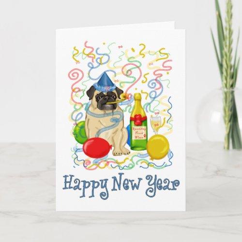 Happy New Year Pug Holiday Card