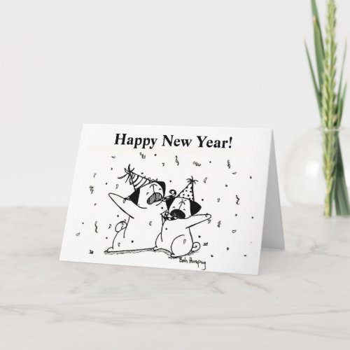 Happy New Year Pugs Holiday Card