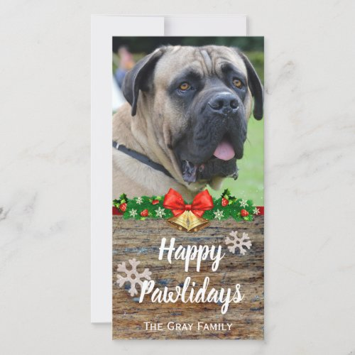 Happy Pawlidays | Pet Photo Christmas Holiday Card