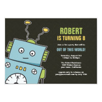 Happy Robot Boys Birthday Party Invitations