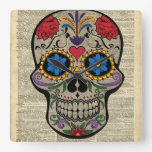 Happy Skull,Sugar Skull,Halloween,Dictionary Art Square Wall Clock