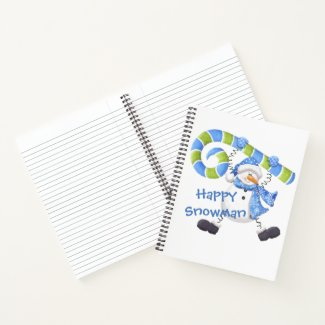 Happy Snowman Green & Blue Journal Diary Notebook