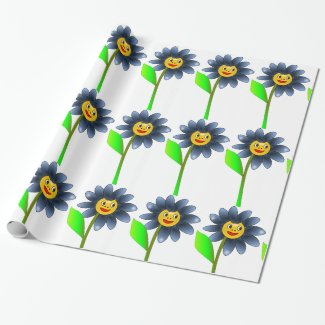 Happy Summer blue Flower Wrapping paper