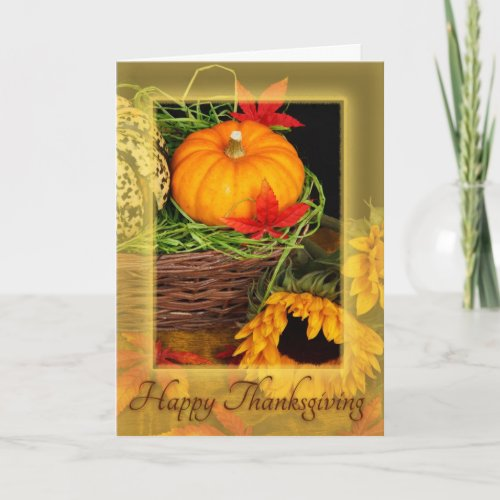 Happy Thanksgiving pumpkins & sunflowers card
