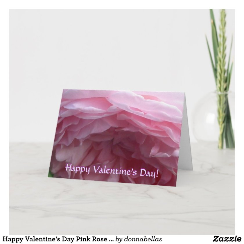 Happy Valentine's Day Pink Rose Art Greeting Card