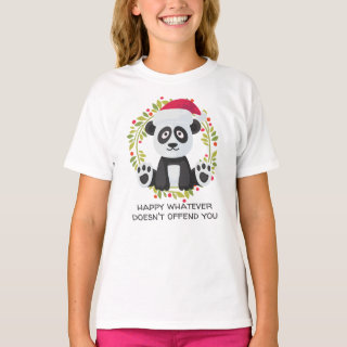 Happy Whatever Doesn't Offend You Christmas Panda T-Shirt